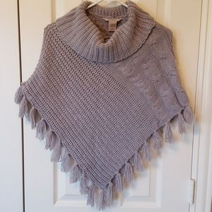 Arizona Girls Grey Sweater Poncho Size M/L